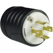 "L1420P PLUG MALE 20 AMP 125/250 VOLT 3 POLE 4 WIRE GROUNDED NEMA L14-20P TWIST LOCK INDUSTRIAL GRADE CORD DIAMETER 0.385"" - 1.150"" MATERAL NYLON COLOR BLACK AND WHITE (HUBSPEC) QTY 1/10"