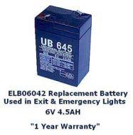 ELB06042 BATTERY REPLACEMENT 6 VOLT FOR EMERGENCY LIGHT ELM/ELM2 ELSQ/ELSQM ELCC/ELCCT AFN EXIT LIGHT QM EL/X EL LHQM/LQM EL 6V 4.5AH SLA0905 (INTERSTATE) YB645 (ENERGY PRODUCT) QTY 1/10