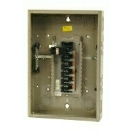 "CH22B100C 100 AMP BOX AND INTERIOR WITH MAIN BREAKER 120/240 VOLT 1 PHASE 3 WIRE 22 CIRCUIT/SPACES ENCLOSURE INDOOR 27"" HIGH X 14.31"" WIDE X 3.88"" DEEP USE CH8CS OR F COVER QTY 1"
