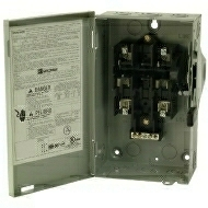 DG221NGB 30 AMP SINGLE THROW GENERAL DUTY FUSIBLE SAFTY DISCONNECT SWITCH 240 VOLT 2 POLE 3 WIRE FUSE TYPE CLASS H NEMA 1 ENCLOSURE PAINTED STEEL QTY 1