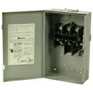 DG221URB 30 AMP SINGLE THROW GENERAL DUTY NON-FUSIBLE SAFTY DISCONNECT SWITCH 240 VOLT 2 POLE 2 WIRE NEMA 3R ENCLOSURE PAINTED GALVANIZED STEEL QTY 1