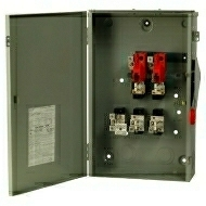 DG224NRK 200 AMP SINGLE THROW GENERAL DUTY FUSIBLE SAFTY DISCONNECT SWITCH 240 VOLT 2 POLE 3 WIRE WITH NEUTRAL FUSE TYPE CLASS H NEMA 3R ENCLOSURE PAINTED GALVANIZED STEEL QTY 1
