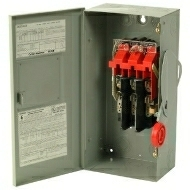 DH361NGK 30 AMP SINGLE THROW HEAVY DUTY FUSIBLE SAFTY DISCONNECT SWITCH 600 VOLT 3 POLE 4 WIRE FUSE TYPE CLASS H NEMA 1 ENCLOSURE PAINTED STEEL QTY 1