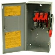 DH361UGK 30 AMP SINGLE THROW HEAVY DUTY NON-FUSIBLE SAFTY DISCONNECT SWITCH 600 VOLT 3 POLE 3 WIRE NEMA 1 ENCLOSURE PAINTED STEEL QTY 1