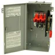 DH361URK 30 AMP SINGLE THROW HEAVY DUTY NON-FUSIBLE SAFTY DISCONNECT SWITCH 600 VOLT 3 POLE 3 WIRE NEMA 3R ENCLOSURE PAINTED GALVANIZED STEEL QTY 1