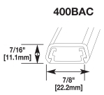 400BAC RACEWAY NON-METALLIC PVC BASE AND COVER WITH ADHESIVE BACK 300 VOLT SERIES 400 FINISH IVORY QTY 1/100 FEET