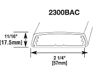 2300BAC RACEWAY NON-METALLIC PVC BASE AND COVER WITH ADHESIVE BACK 300 VOLT SERIES 2300 FINISH IVORY QTY 1/50 FEET