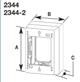 2344 OUTLET DEVICE BOX 1 GANG EXTRA DEEP DIVIDED NON-METALLIC PVC SERIES 400 800 2300 FINISH IVORY QTY 1/5